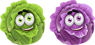 Head of fun purple and green cabbage Royalty Free Stock Photos