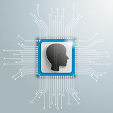 Head Futuristic Processor Circuit Board Infographic. Human head and electronic schematicon on the gray background Royalty Free Stock Photos