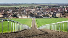 Head-On Gallops & Newmarket Town England. Newmarket Town in England is the racehorse capital of the world for breeding and training proceeding well over 350 royalty free stock photography