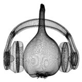 Head of garlic with headphones on a white background. 3D illustration stock illustration