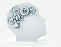 Head with gear. Intelligence concept - this is a 3d render illustration Royalty Free Stock Photography