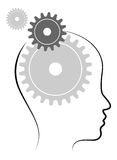 Head with gears. Illustration of head with gears on white background Stock Images