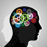 Head with gears. Black silhouette of man head with some gears. eps10 Royalty Free Stock Photography