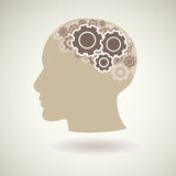 Head with gears icon,  Stock Photography