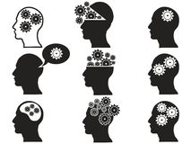Head with gears icon set Stock Images