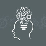Head With Gears Icon From The Shape of Light Bulbs Stock Photography