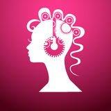 Head with gears,illustration on a pink background Stock Images