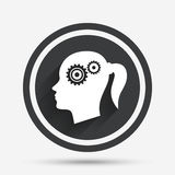 Head with gears sign icon. Female woman head. Royalty Free Stock Photo