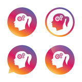 Head with gears sign icon. Female woman head. Stock Photography