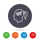 Head with gears sign icon. Female woman head. Stock Photo