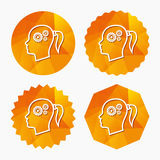 Head with gears sign icon. Female woman head. Stock Image