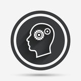 Head with gears sign icon. Male human head. Royalty Free Stock Photos