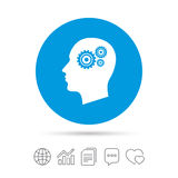 Head with gears sign icon. Male human head. Head with gears sign icon. Male human head symbol. Copy files, chat speech bubble and chart web icons. Vector Stock Photo