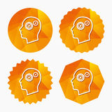 Head with gears sign icon. Male human head. Royalty Free Stock Images