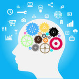 Head with gears and Social-Media Stock Images