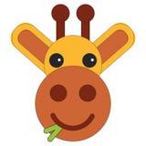 Head of a giraffe in cartoon flat style stock illustration