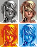 Head of girl in different colors Stock Photo