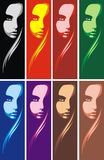 Head of girl in different colors Stock Photography