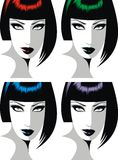 Head of girl in different colors Royalty Free Stock Photos