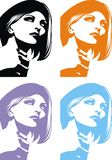 Head of girl in different colors Royalty Free Stock Photography