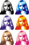 Head of girl in different colors Royalty Free Stock Images