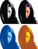 Head of girl in different colors Royalty Free Stock Photo