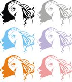 Head of girl in different colors Royalty Free Stock Image