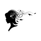 Head of a girl with floral hair Stock Photos
