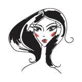 Head glamorous girl cartoon Stock Photos