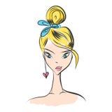 Head glamorous girl cartoon Royalty Free Stock Photography
