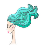 Head glamorous girl cartoon sketch Stock Image