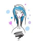 Head glamorous girl cartoon sketch Royalty Free Stock Photos