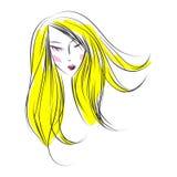 Head glamorous girl cartoon sketch Royalty Free Stock Photo