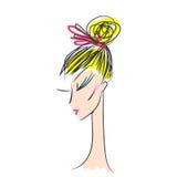 Head glamorous girl cartoon sketch Stock Images