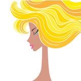 Head glamorous girl cartoon sketch Stock Photos