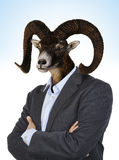 Head of a Goat on a man`s body Royalty Free Stock Image