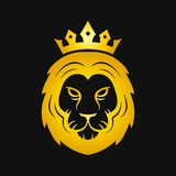 Head of a gold fierce crowned lion logo Stock Photo