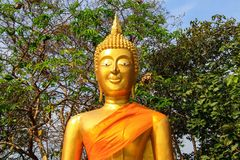 Head of the Golden Buddha in a Thai Buddhist temple, a religious symbol in Thailand. Pattaya royalty free stock photos