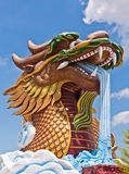 Head of golden dragon statue Royalty Free Stock Images