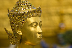 Head of golden Kinnara at Wat Phra Kaeo in Bangkok Royalty Free Stock Photography