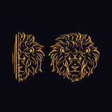 The head of a golden lion. The head of a lion. Golden lion hides Royalty Free Stock Photos