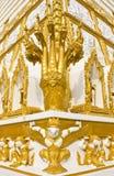 Head of golden Naga Stock Photo
