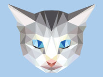 Head of gray cat low polygon with blue eyes, geometric animal face. Pet crystal design, triangular kitten royalty free illustration