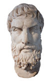 Head of the greek philosopher Epikouros. Ancient marble head of the greek philosopher Epikouros isolated on white with clipping path royalty free stock image