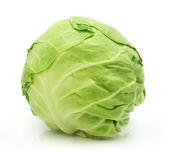 Head of green cabbage vegetable isolated Stock Photos