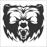 Head grizzly Brown Bear in tribal style Stock Photo