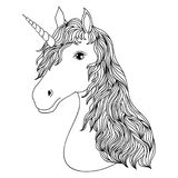 Head of hand drawn unicorn. On white background. Coloring page for children and adult.Vector illustration Stock Photos