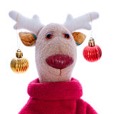 Head of Handmade toy Christmas deer isolate over white Stock Image