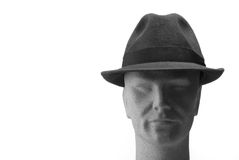 Head with hat on - front. White background Royalty Free Stock Photography