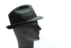 Head with hat on - profile. White background Royalty Free Stock Photos
